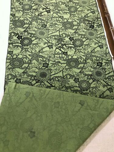 @@ 98 cmx 35 cm Japanese kimono silk fabric/ smooth crepe/ ash green P65