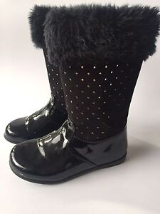 Kids Clarks Black Boots Patent Suede and Faux Fur size 25 rrp $79.95 Lindfield Ku-ring-gai Area Preview