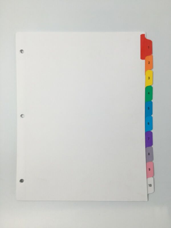 # 1-10 colored Numbered index tabs, 60 SETS  3 Holes
