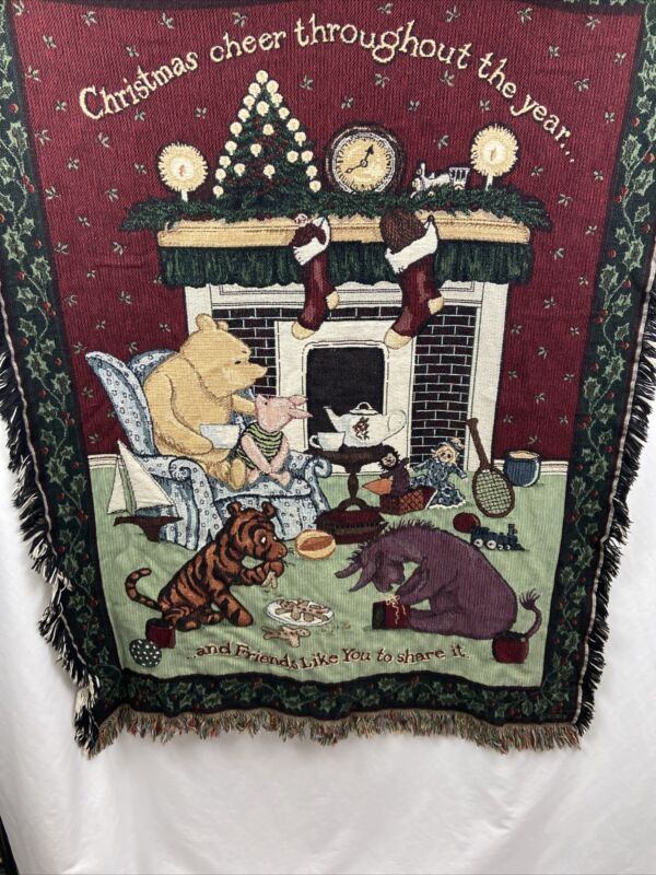 Vtg Disney Classic Winnie The Pooh & Friends Christmas Tapestry Throw Blanket