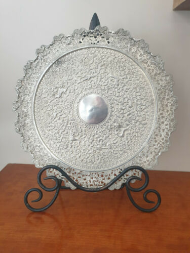 ANTIQUE 19th Century KUTCH SILVER PIERCED FOOTED DISH 605 g