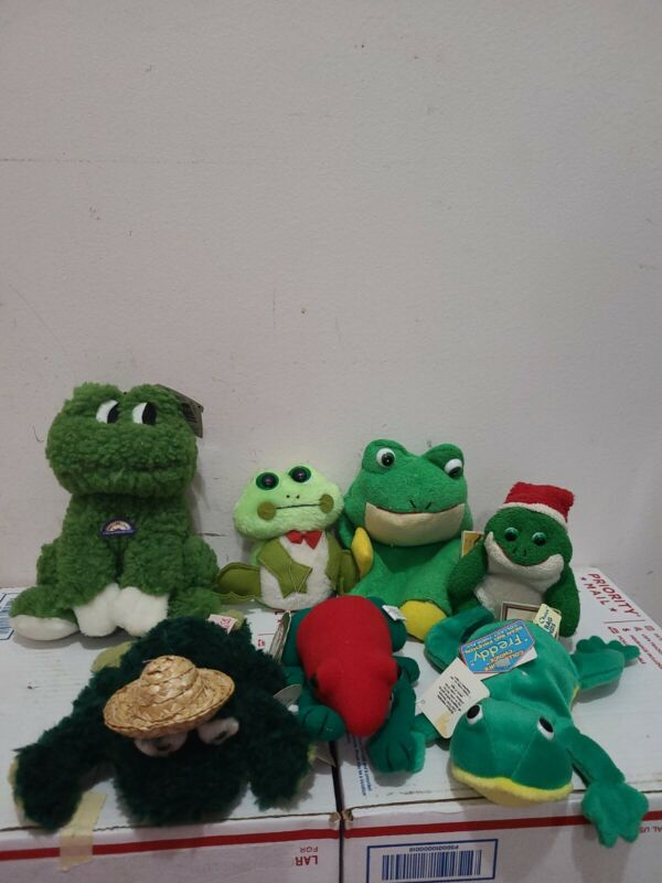 Lot of 7 Stuffed Animals- Frogs New with Tags