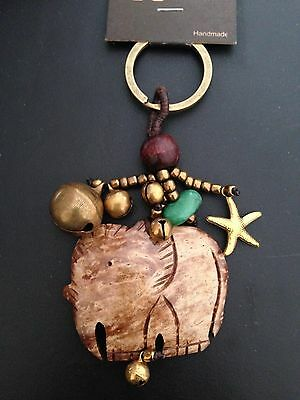 Handmade Wood Elephant Keychain Ring With Bell Turquoise Green Colored Stone  - $11.99