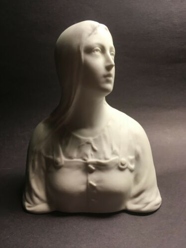 Rare Antique Tharaud Limoges Marked Bisque Porcelain Bust Young Woman