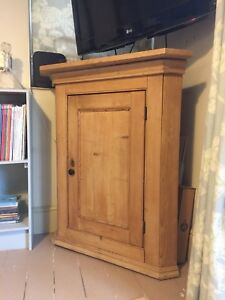Victorian Stripped Pine Corner Cupboard Floor Standing Or Wall Mounted