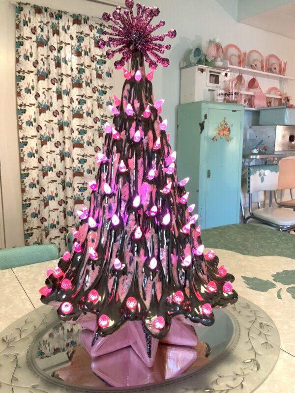 Vintage Atlantic Ceramic lava Christmas Tree Pink And Metallic Charcoal Sputnik