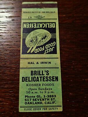 Vintage Matchcover: Brill's Kosher Delicatessen, Oakland, CA 78