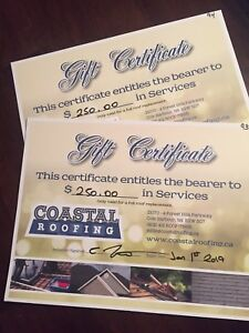 $500 gift certificate for Coastal Roofing