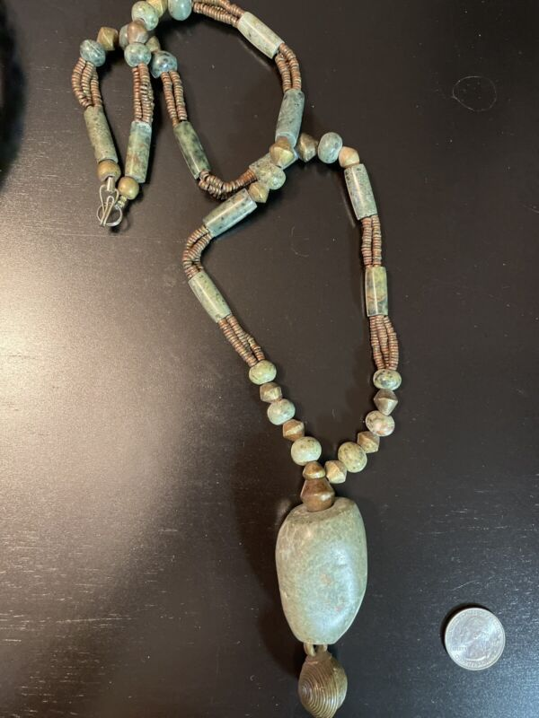 Antique African Trade Stone Brass Bead Necklace