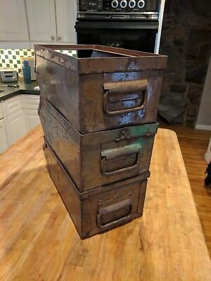 Vintage Parts Bin Steel Hopper Box Stackbin With Handle