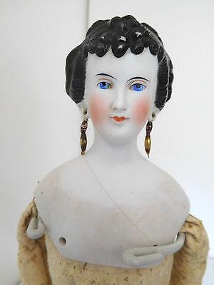 "Antique China Parian 15"" Princess Dagmar Lady w/ Pierced Ears"