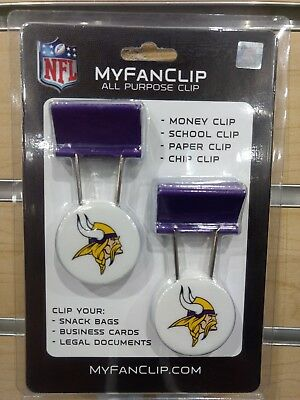 - MINNESOTA VIKINGS 2 PACK OF CLIPS FOR BAGS MONEY OFFICE PAPERWORK BRAND NEW