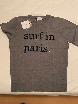 """Cuisse De Grenouille Grey """"Surf In Paris"""" Sweater - New With Tags (Size Medium)"""