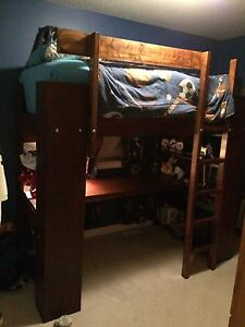 Kids single loft bed with desk
