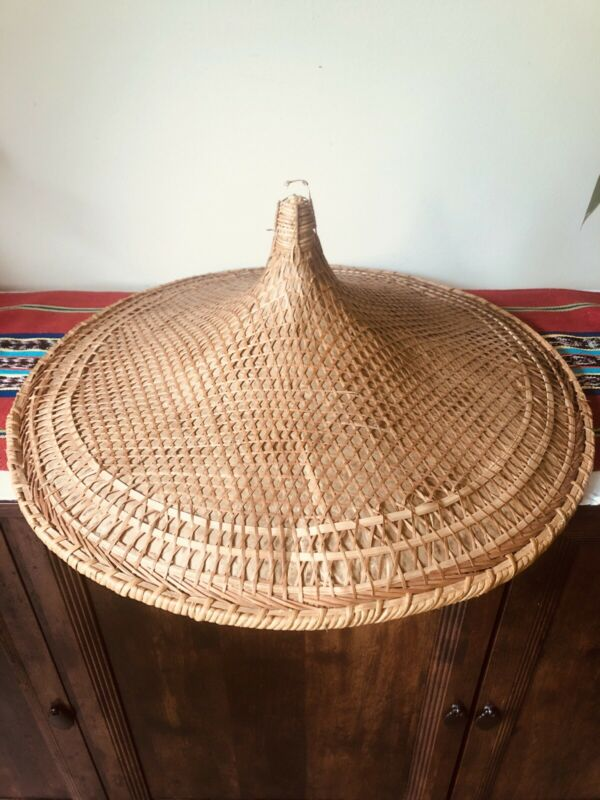 """Vintage Asian Conical Hat Bamboo Straw 21""""Chinese Coolie Rice Paddy Farmer"""