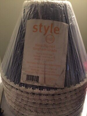 New Lot 2 Navy Blue Pleated Gingham Lamp Shades Style 048 Blue Gingham Lamp Shade