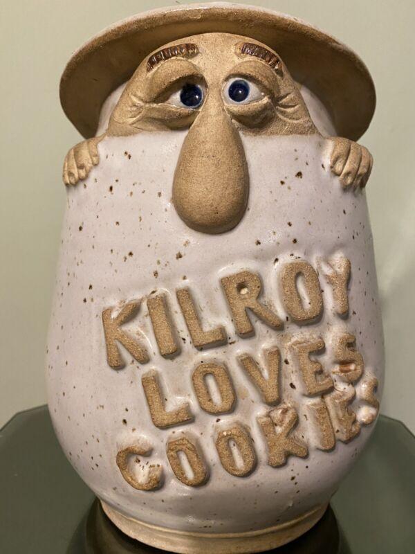Kilroy Was Here Cookie Jar Vintage 1970s Mid Century Rare Stoneware Pottery