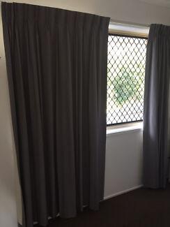 Pencil Pleat curtains - smoky blue colour