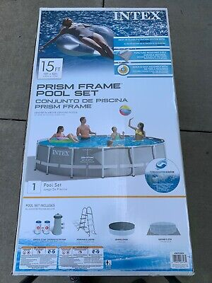 NEW Intex 15ft x 42in Prism Family Frame Swimming Pool w/ Pump + Ladder + Cover