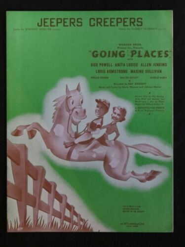 Vintage Going Places 1938 Jeepers Creepers Dick Powell Movie Sheet Music