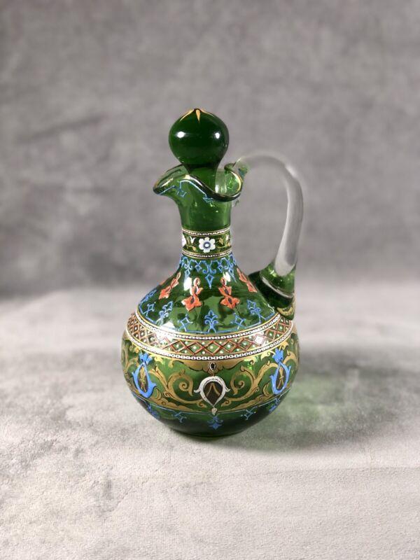 Rare Bohemian Moser Enameled Art Glass Cruet Circa 1880
