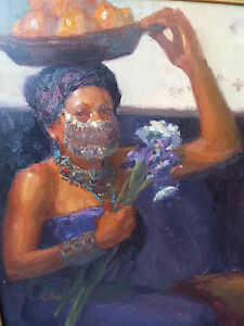 JOHN-BURTON-2003-ORIGINAL-OIL-PAINTING-PORTRAIT-OF-EXOTIC-AFRICAN-WOMAN-NR-HM
