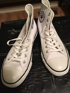 White Leather Converse New, Never Word Size 10/size 8