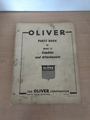 Oliver Parts Book Model 18 Combine And Attachments Tractor Manual
