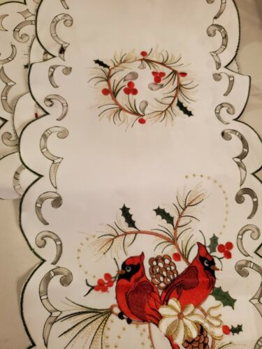 NEW!Christmas,Runner,68x13.Topper,Tablecloth.Embroidered.Cardinal and Holly