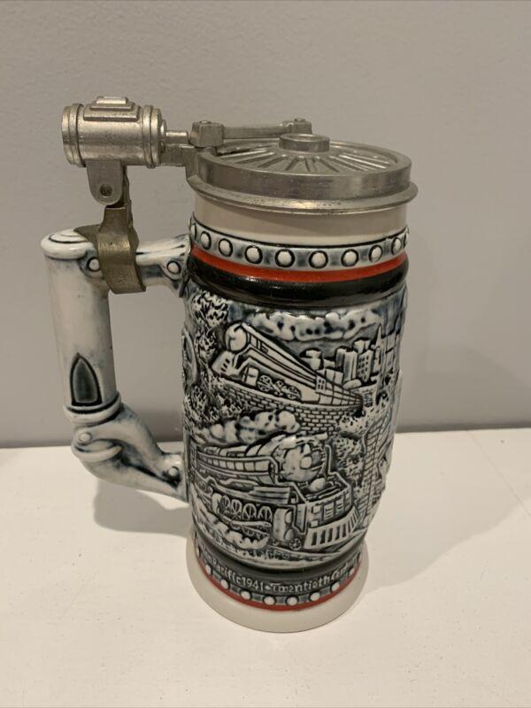 Vintage 1982 Avon Beer Stein Stream Trains  #243060 Hand Crafted in Brazil