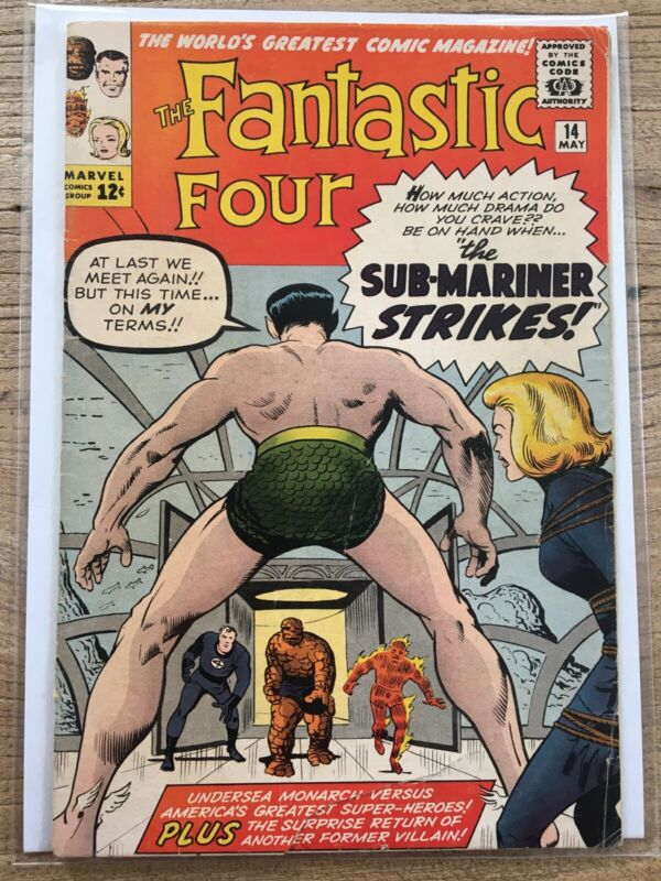 1963 FANTASTIC FOUR ISSUE #14 2nd Puppet Master SUB-MARINER Tear On Cover