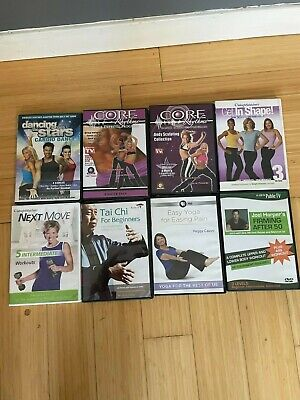 12 workout exercise fitness DVD lot Yoga Cardio, Core, Weight Training, Tai Chi