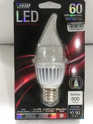 - 500 Lumens LED Dimmable Bent Tip Clear  7.5 W 60w Replacement 3000k Warm E26 E27