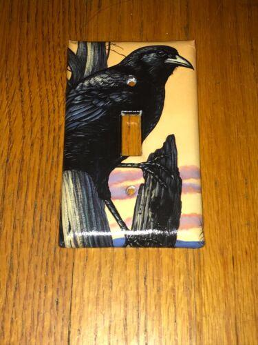 CLASSIC BLACK CROW WILD BIRD ANIMAL LIGHT SWITCH COVER PLATE