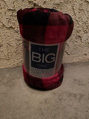 The Big One Oversized Plush Blanket Throw. 5 ft x 6 ft. Red Black Buffalo Plaid!