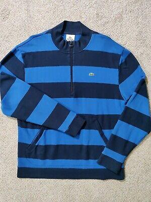 Lacoste Men's Quarter Zip Blue Striped Sweater Size 6