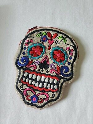 Red Skull Day Of The Dead Small Zipper Pouch