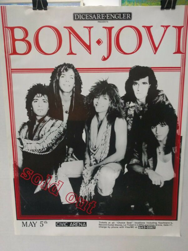 Bon Jovi 1987 slippery When Wet tour poster- unused excellent