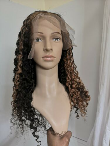 Custom High Quality 21 Transparent Highlight Jerry Curly Lace Human Hair Wig - $299.00