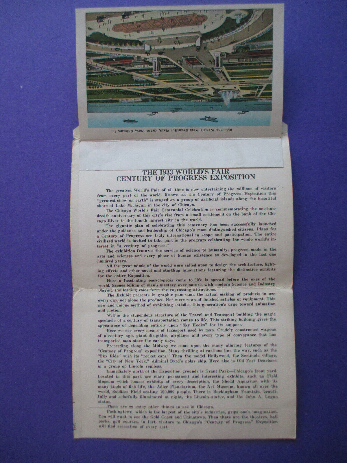 Chicago World s Fair 1933 Fold Out Postcards - Beautiful Bright Colors - $9.99
