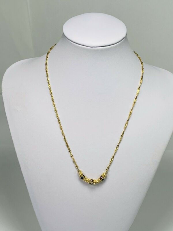 "Vintage 22kt Gold Middle Eastern Enamel Spinning Charm 17"" Singapore Necklace"