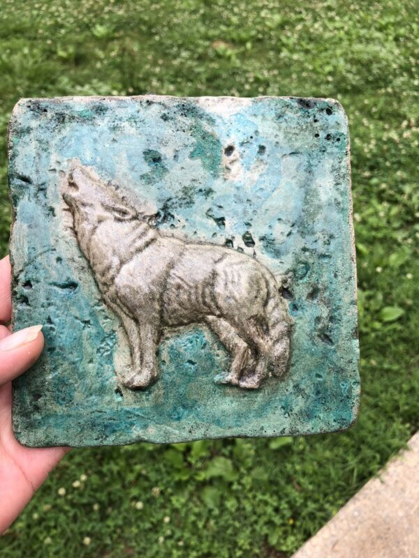 """6"""" by 6"""" cement tile Wolf Stained And Sealed"""