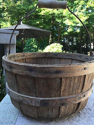 Antique New England (1800s) Handmade Oak Slat Apple Orchard Basket