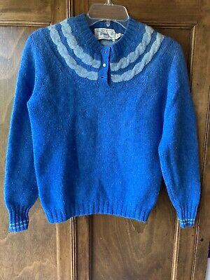 80s Sweatshirts, Sweaters, Vests | Women Vintage 1980's Dean's Of Scotland Blue Shetland Wool Crewneck Pullover Sweater $31.00 AT vintagedancer.com