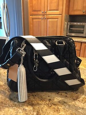 New TOD'S Black/White Leather Guitar Purse Strap