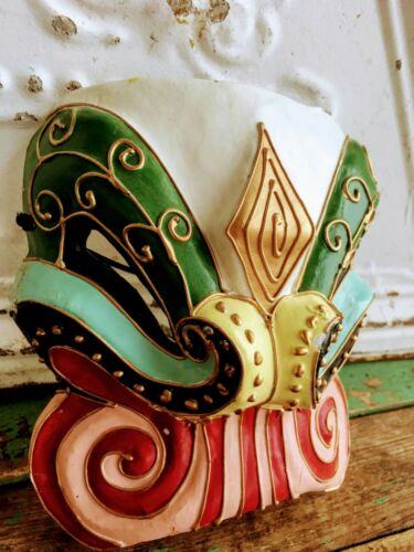 """Vintage Asian Opera Face Mask Paper Mache"""" Elephant Red Green Gold"""