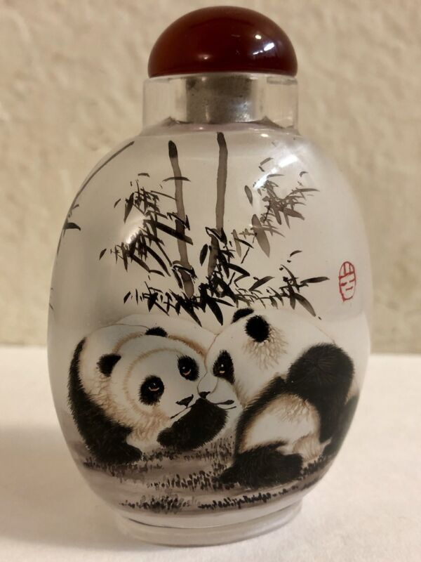GLASS PERFUME SNUFF BOTTLE Reverse hand painted panda  Signed.