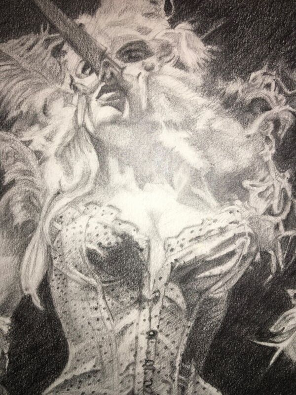 Graphite Drawing by Peggy Nichols, signed, Hollywood Lingerie Mannequin