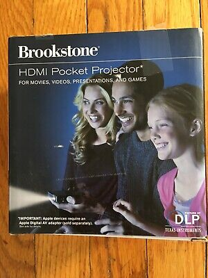 Brookstone HDMI Pocket DLP Projector 801143 Rechargeable - Open box