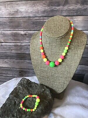Vintage Neon Rave Plastic Bead Necklace and Bracelet Elastic Stretchy Kids](Neon Bracelets And Necklaces)